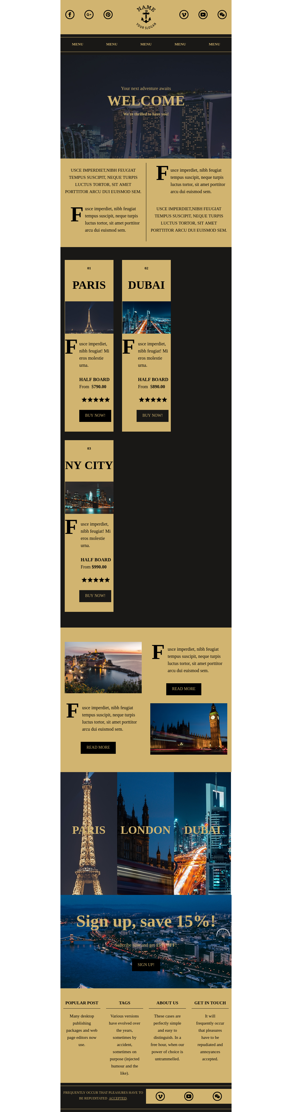 Elegant Travel and Hotel Responsive Newsletter Template