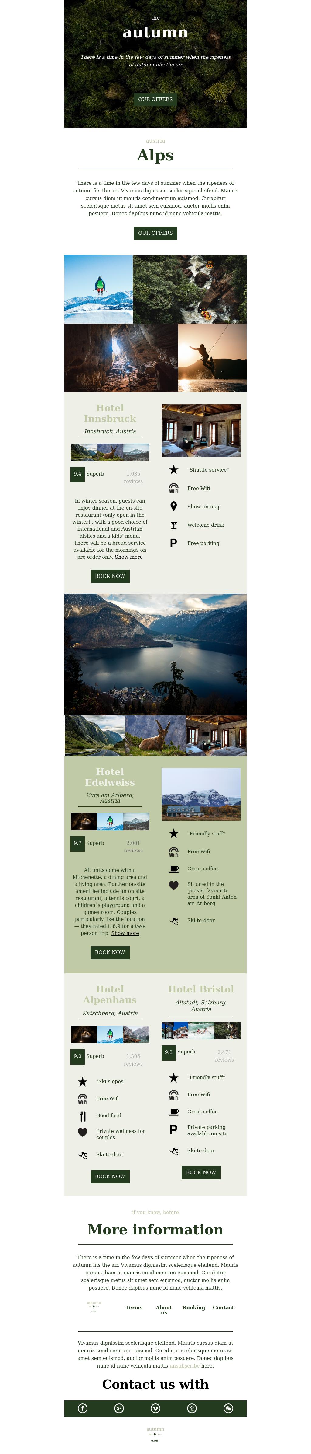 Autumn Travel and Ski Season 2020