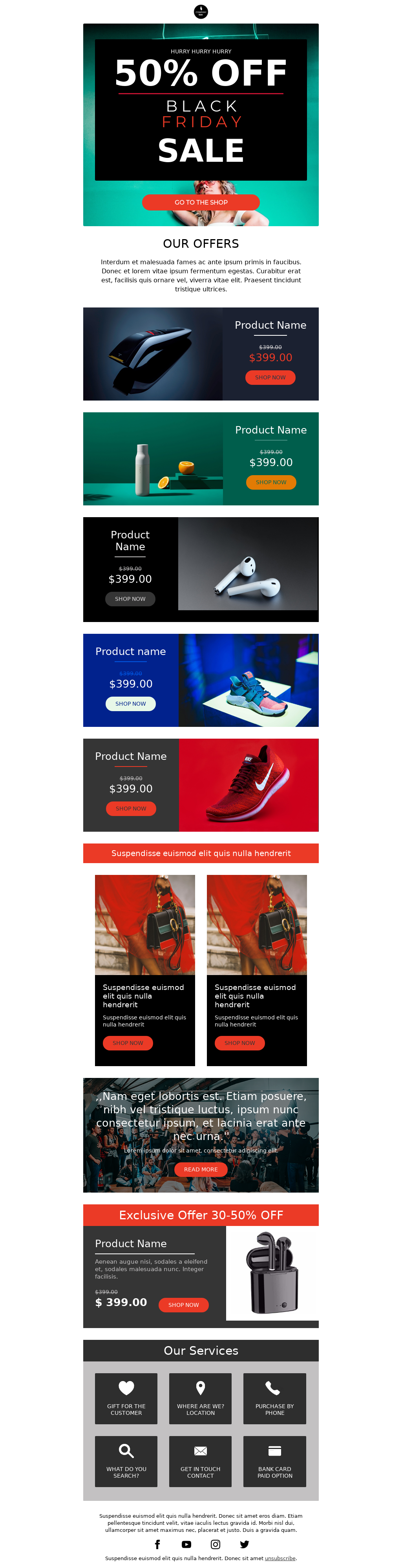 Colorful black friday product promotion email template