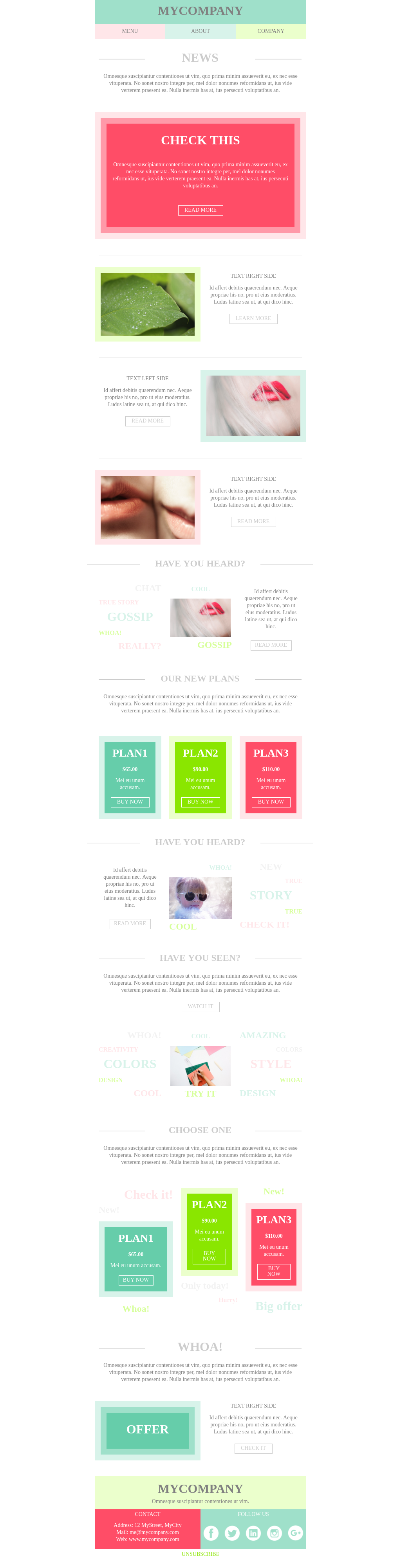 Playful mobile-friendly newsletter template in vivid colors
