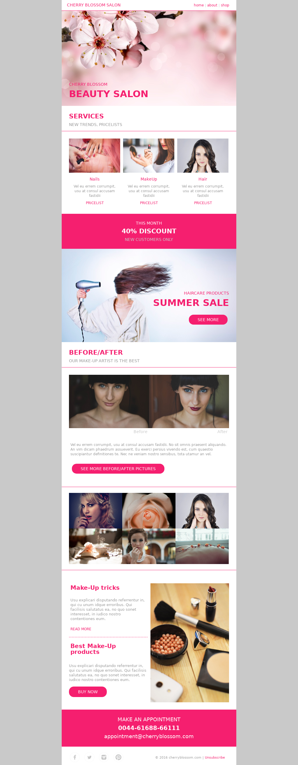Cherry blossom elegant beauty or message salon email template