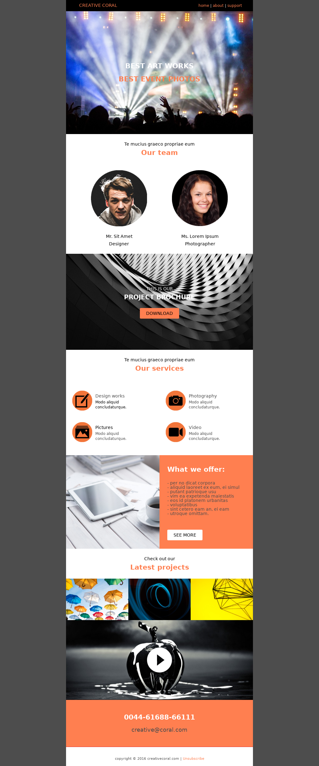 Entertainment and events focused email templates used for agencies that offer more services for their clients