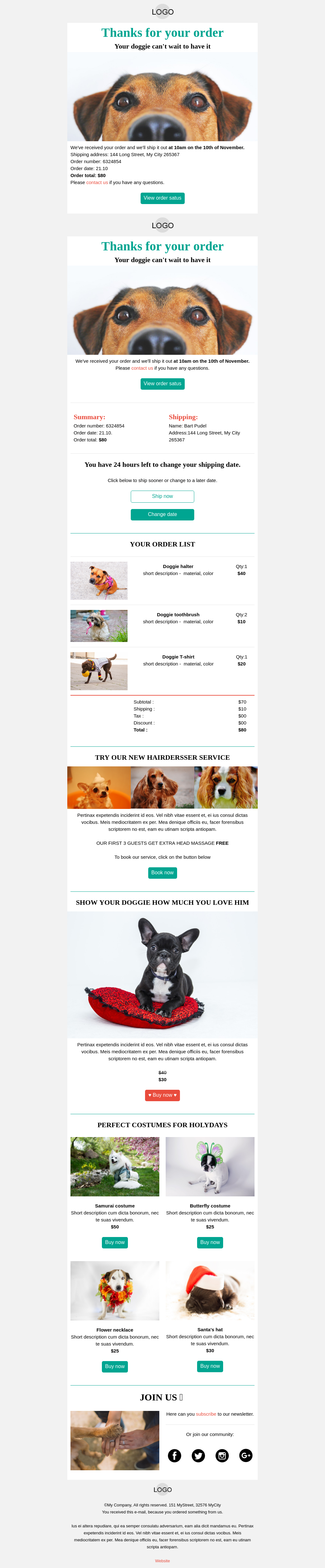 Doggy Heaven Mobile-friendly Order Confirmation Email Template