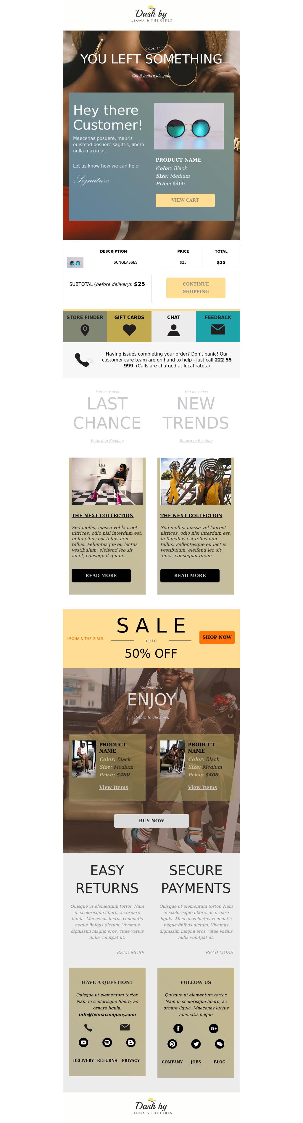 Fashion & beauty ecommerce cart abandoned template