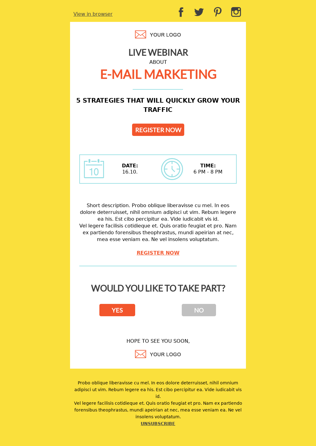 Webinar email template for email marketing