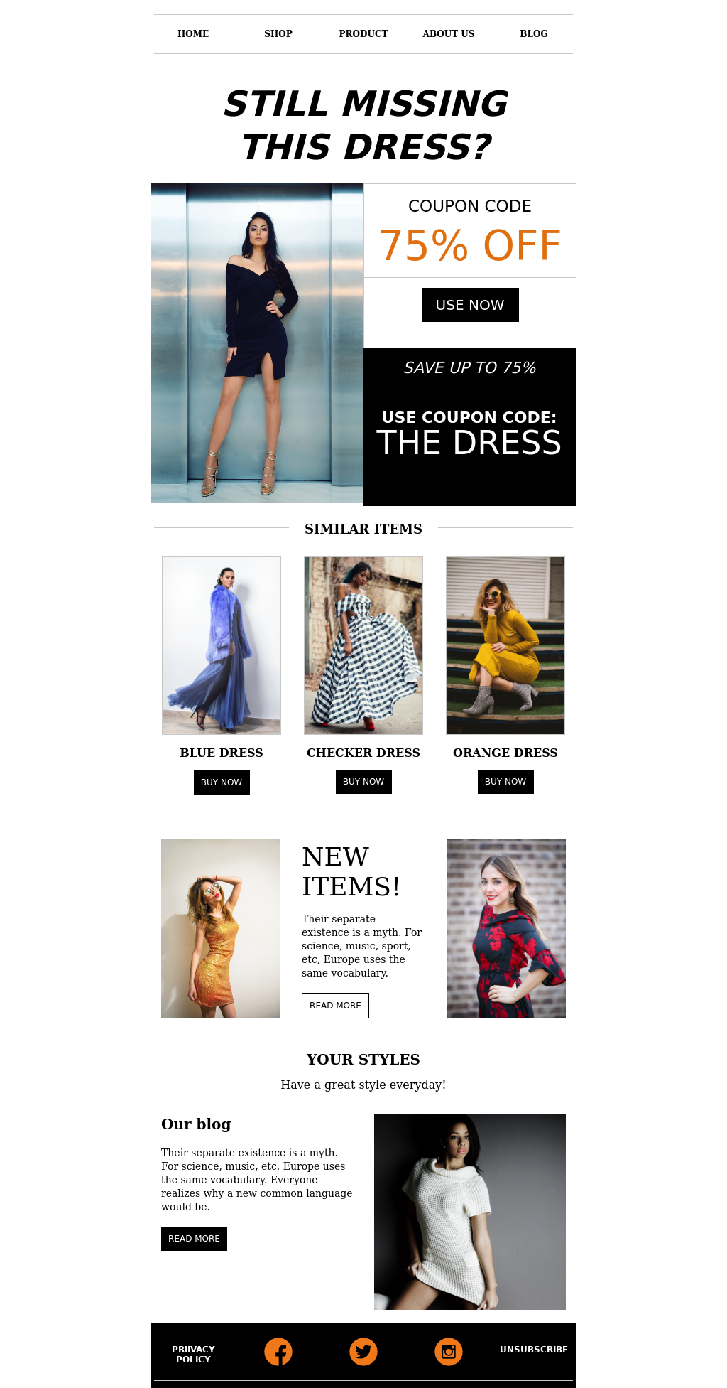 Fashion E-commerce Cart Abandonment Email Template