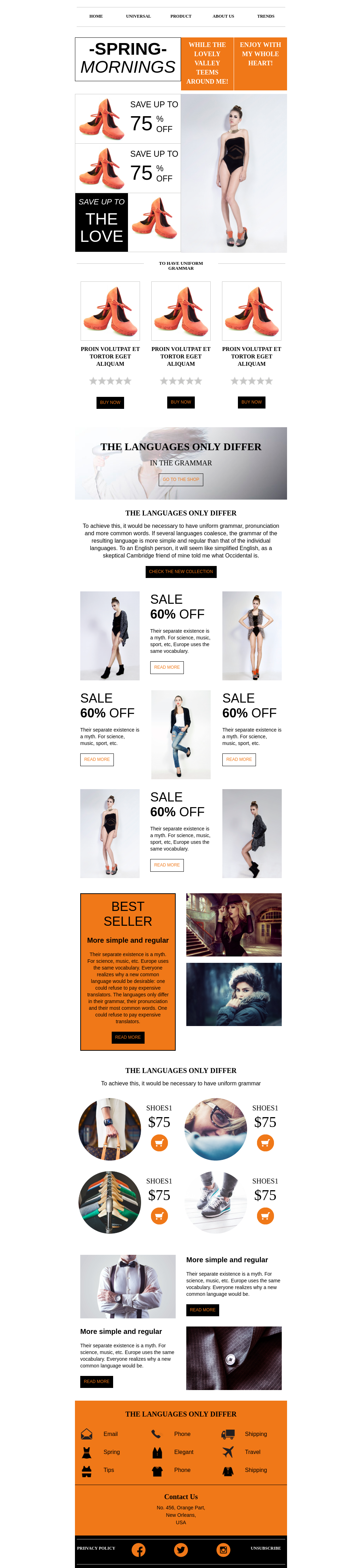 Promotional newsletter email template for fashion industry