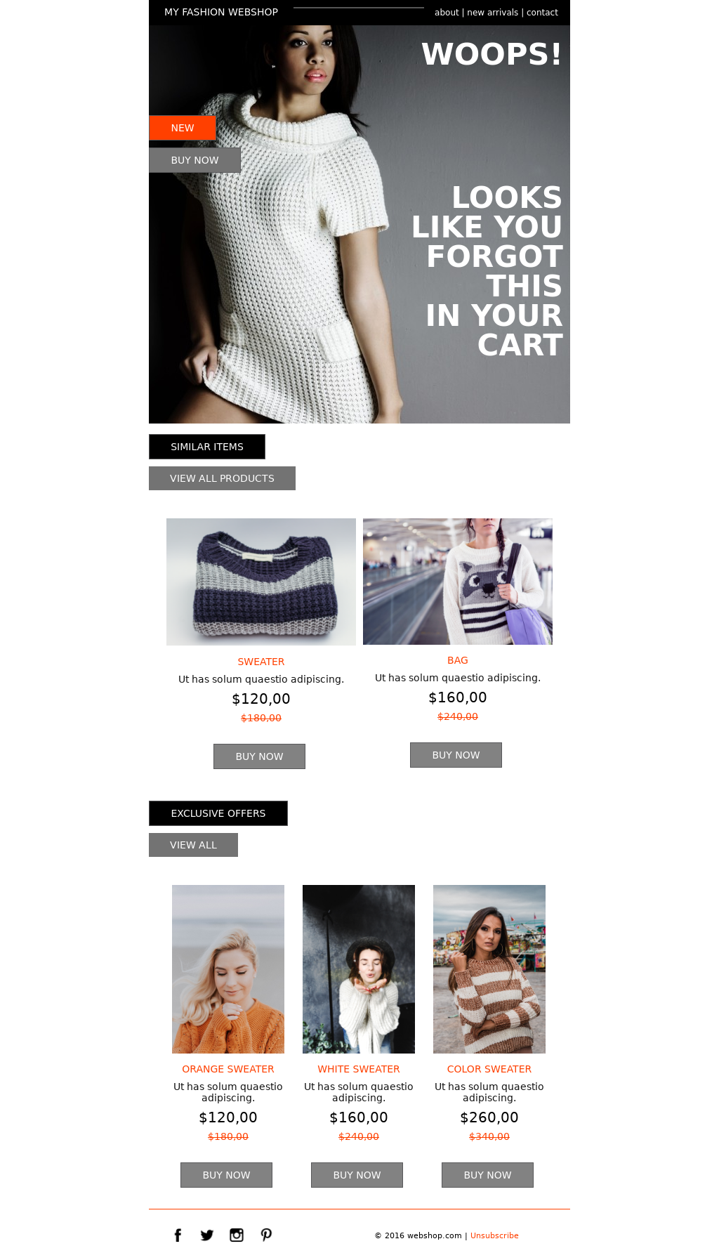 Fashionable Promo Cart Abandonment Email Template