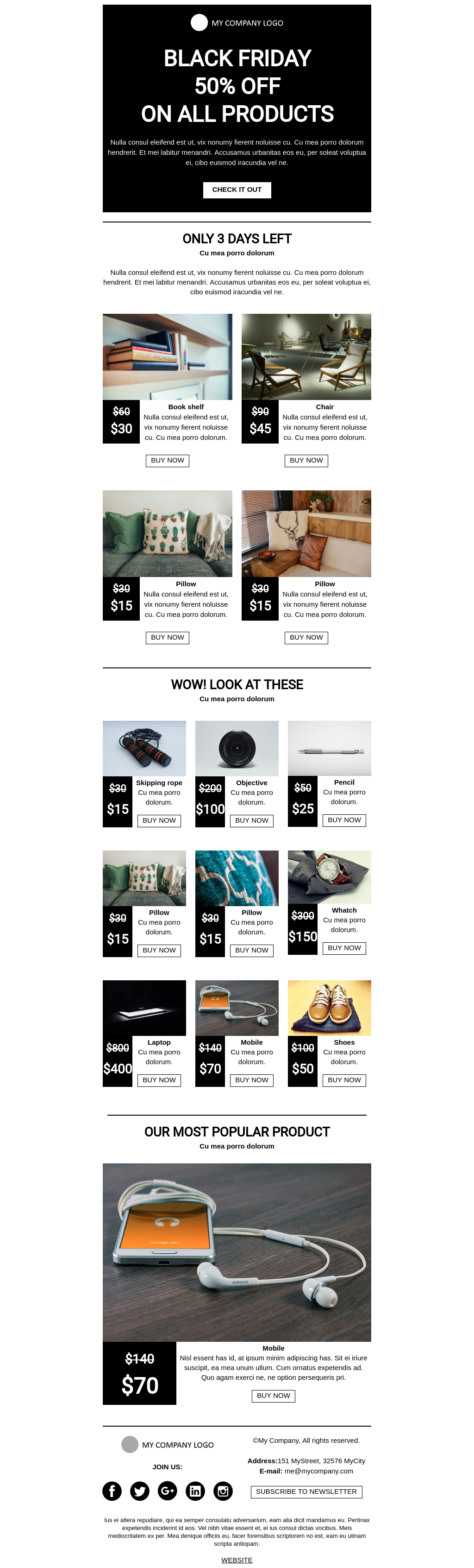 Ecommerce Black Friday flat design email template