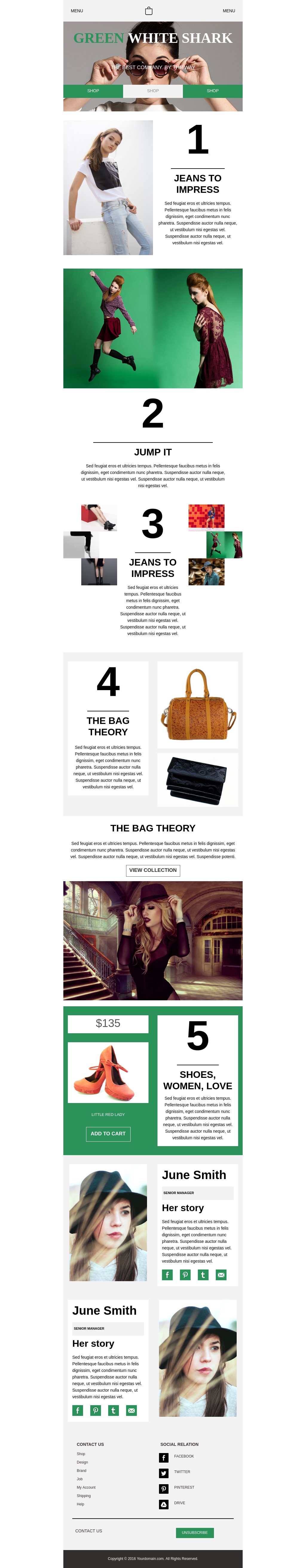 Modern promo newsletter email templates with focus on the fashion industry