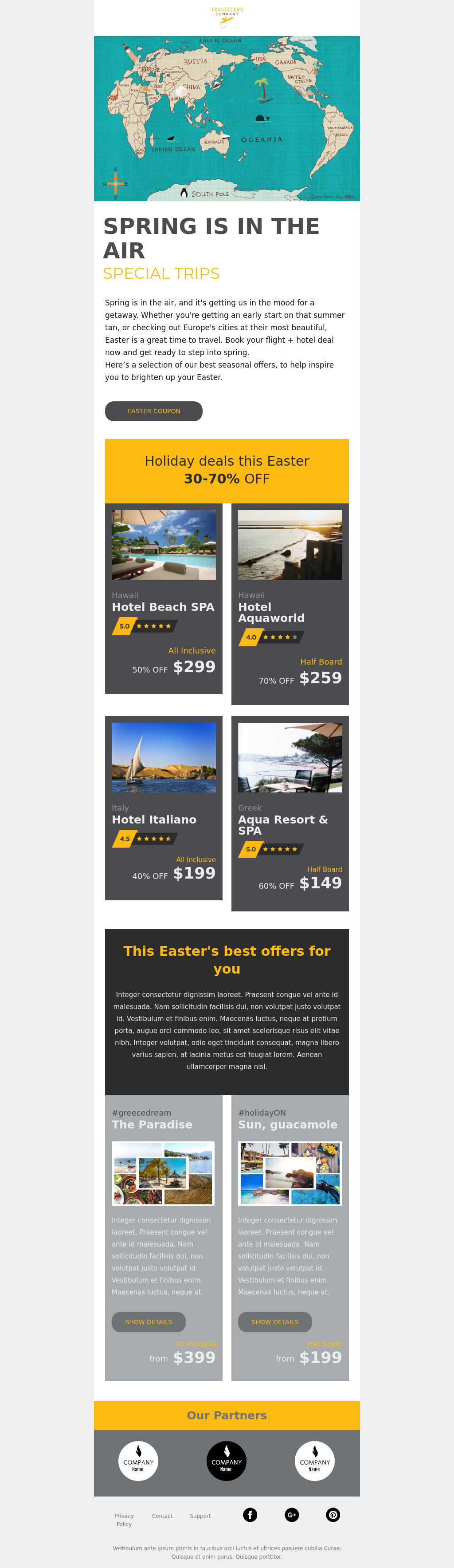 Happy Easter template for travel industry
