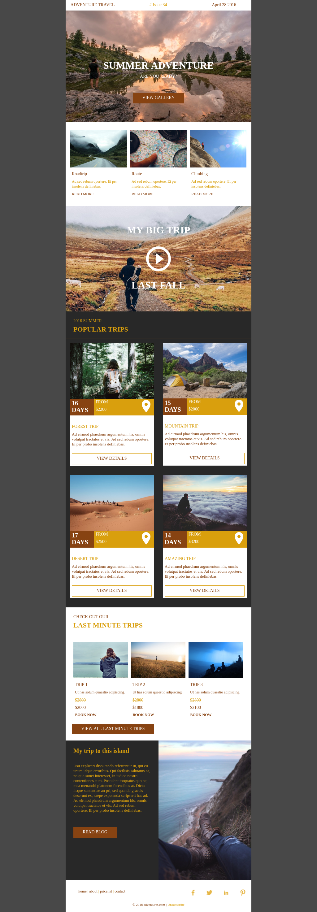 Travel and tourism responsive sales newsletter email template