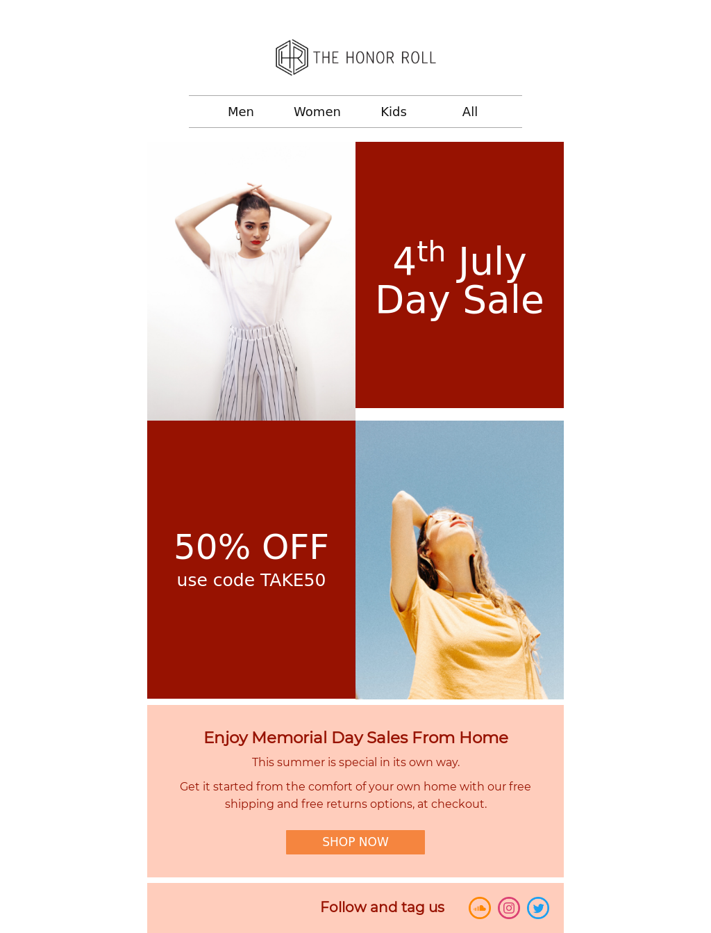 Red and White 4th July Email Template