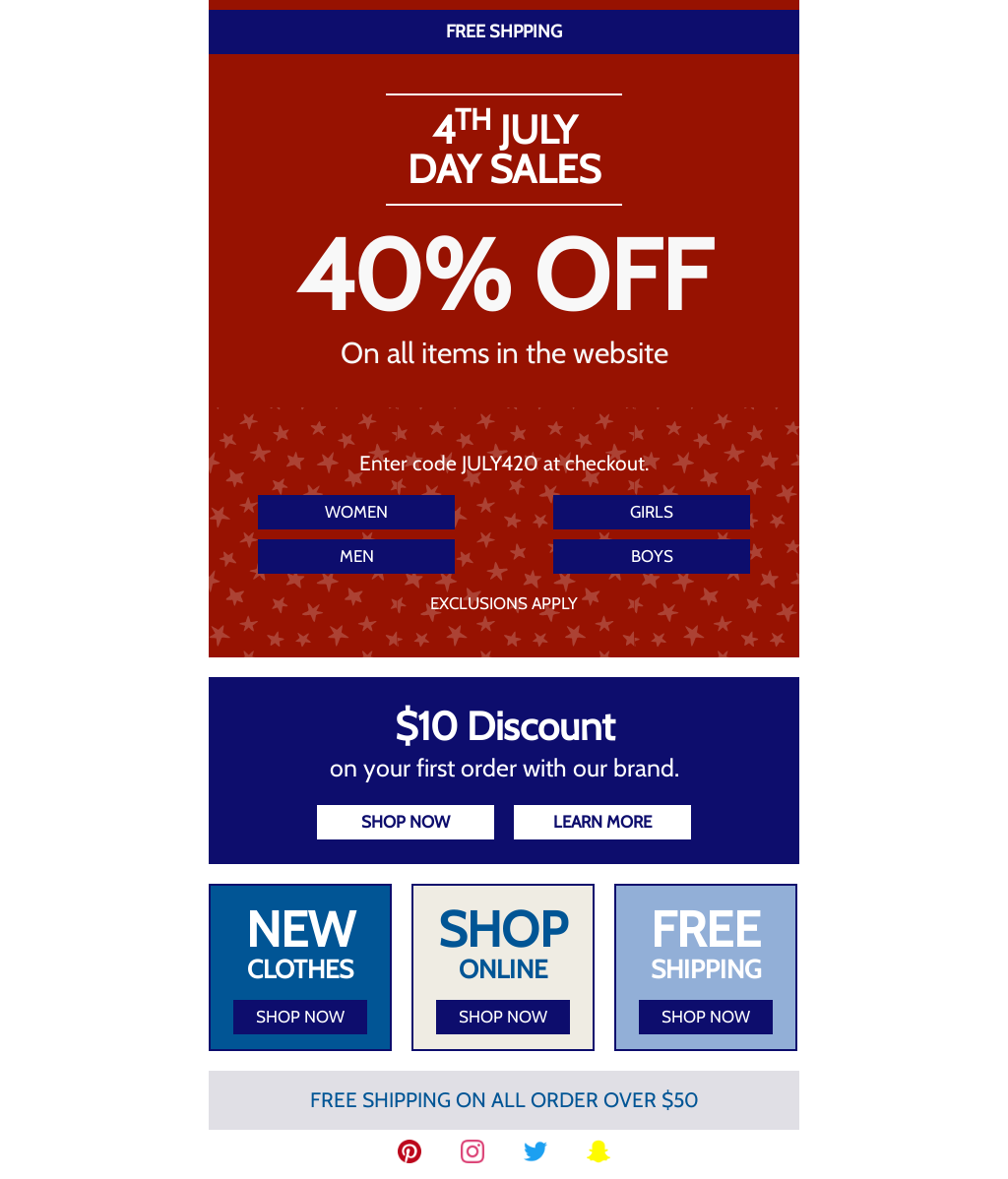 Independence Day Email Template Stars & Stripes Theme