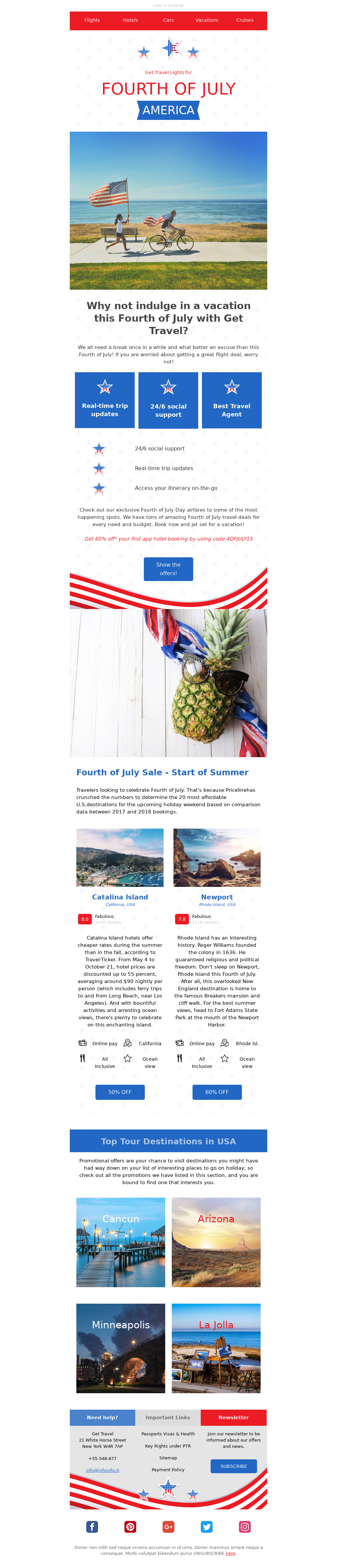 4th of July Email Template to Sell More Travels on Independence Day