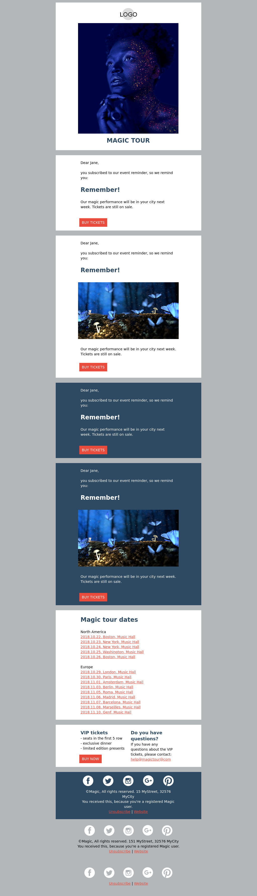 Magic Blue Entertainment Event Reminder Email Template