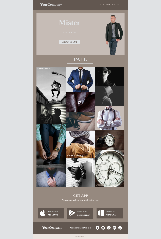 Fashion ecommerce newsletter template for men