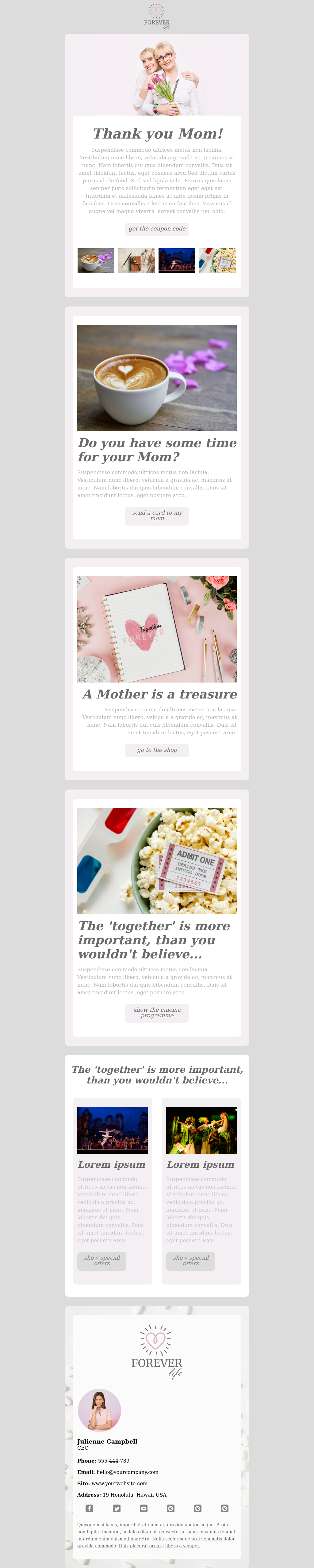 Mother's Day template suitable for travel, e-commerce, saas companies.