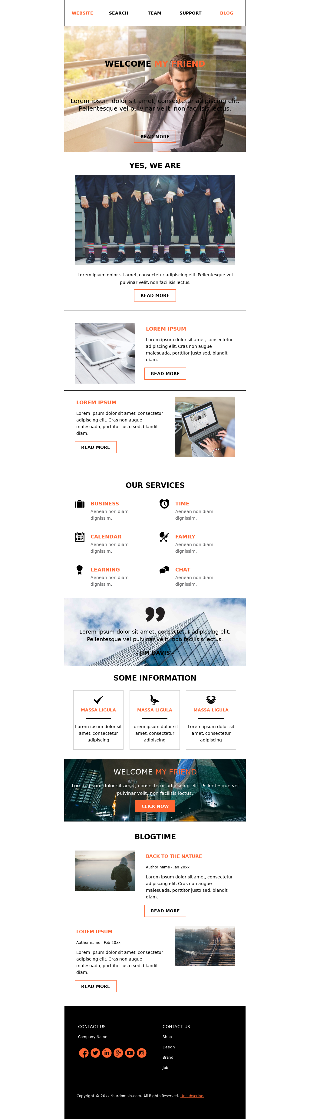 Orange colored responsive corporate newsletter template