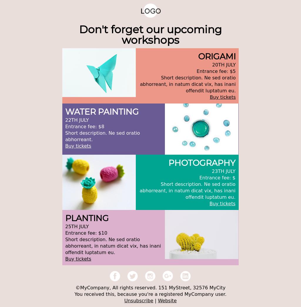 Origami Event Reminder for Workshops or Multiple Events