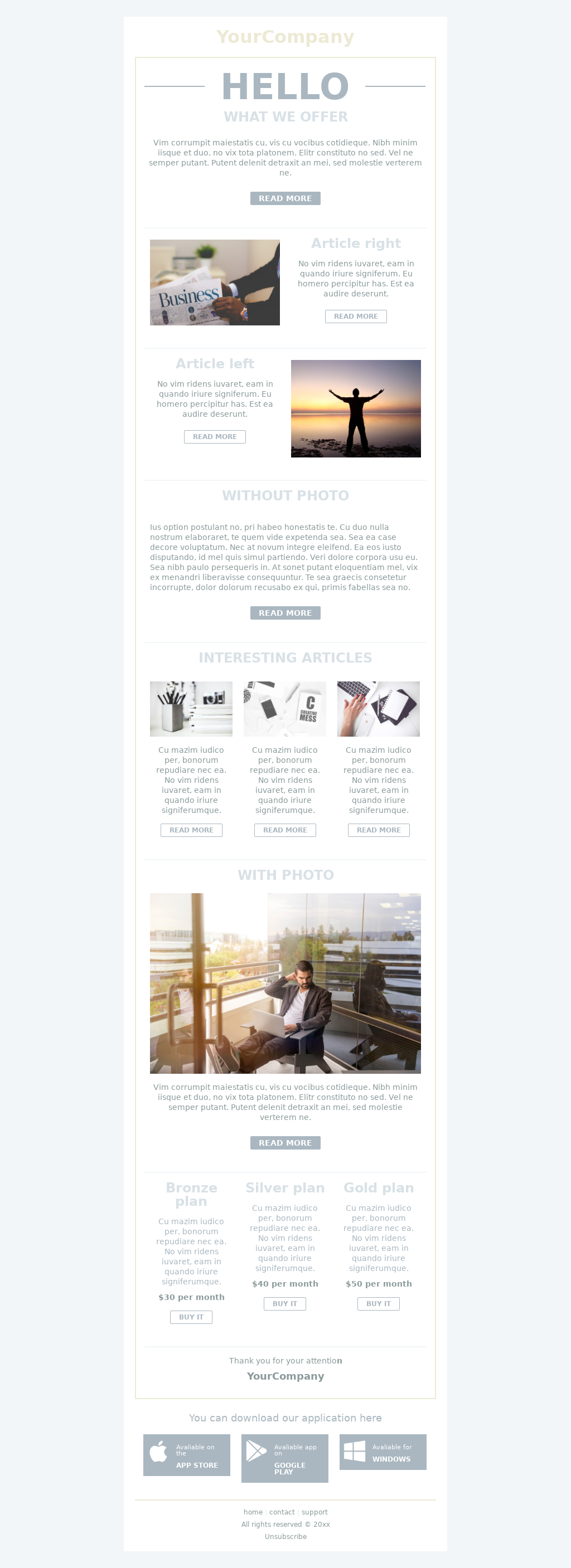 Classic layout and pale colored responsive email template