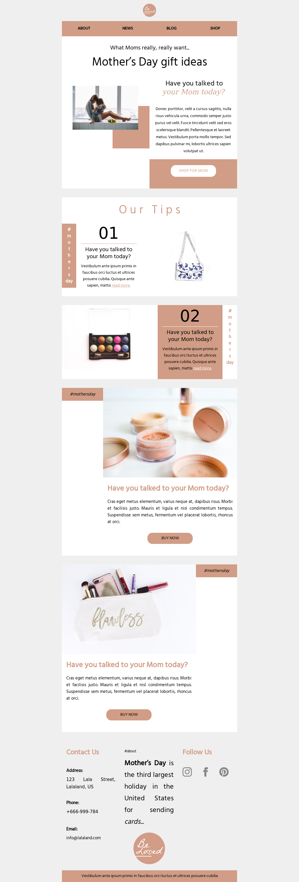 Lovely peachy Mother's Day template to promote products