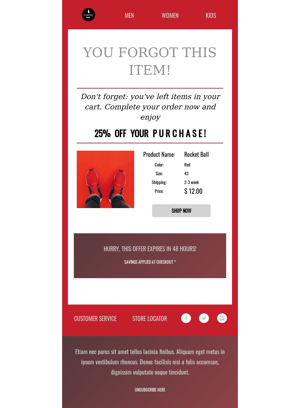 Red themed e-commerce abandoned cart template