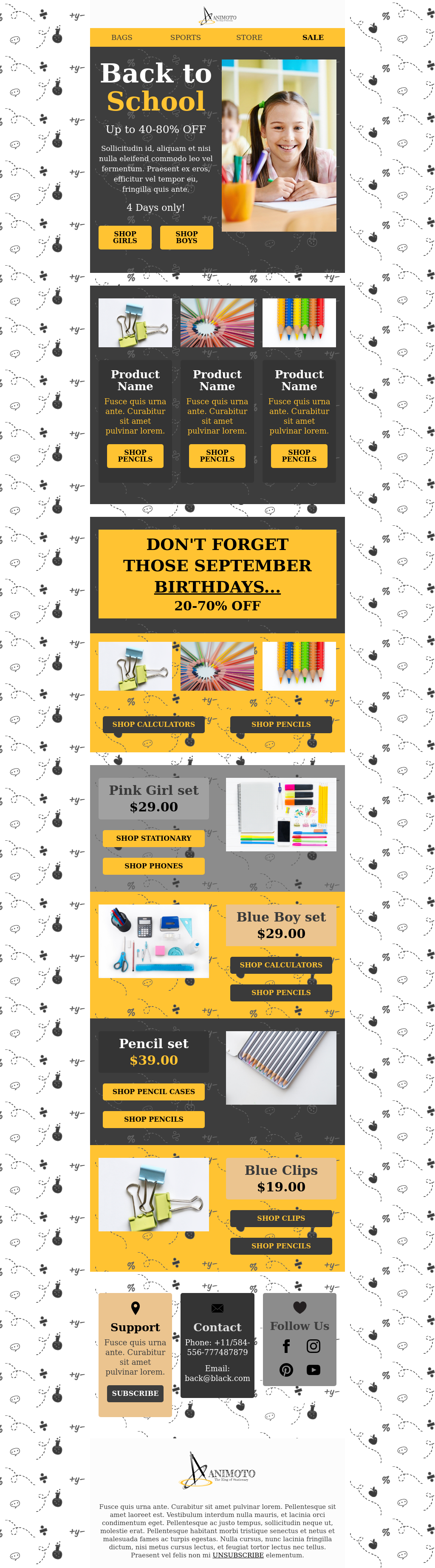 School Supplies Back to School Email