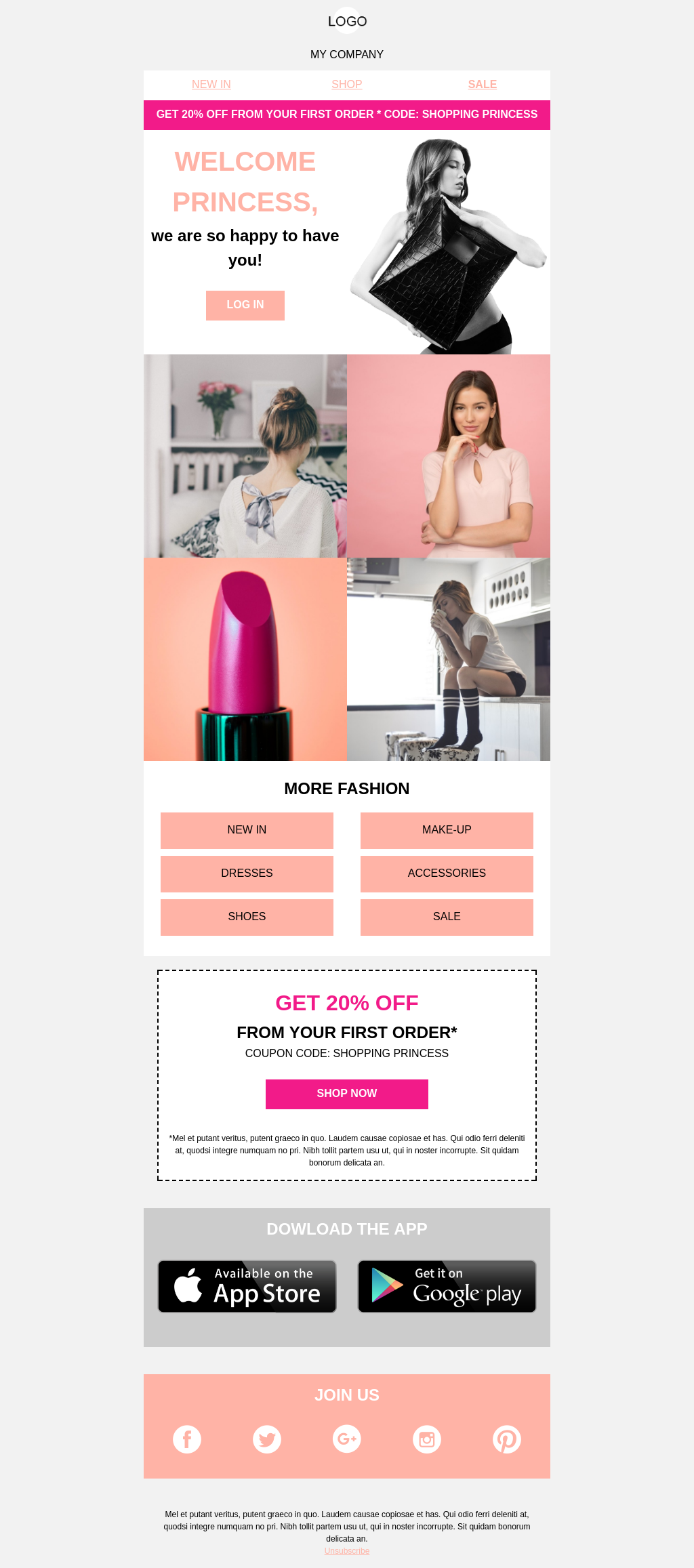 Responsive Welcome Email Template for Shopping Princess-es