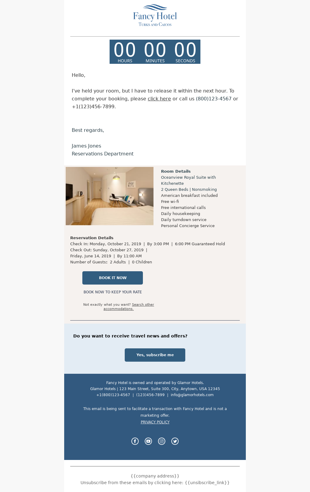 Hotel industry Cart Abandoned Email Template with countdown timer to recoup lost revenue
