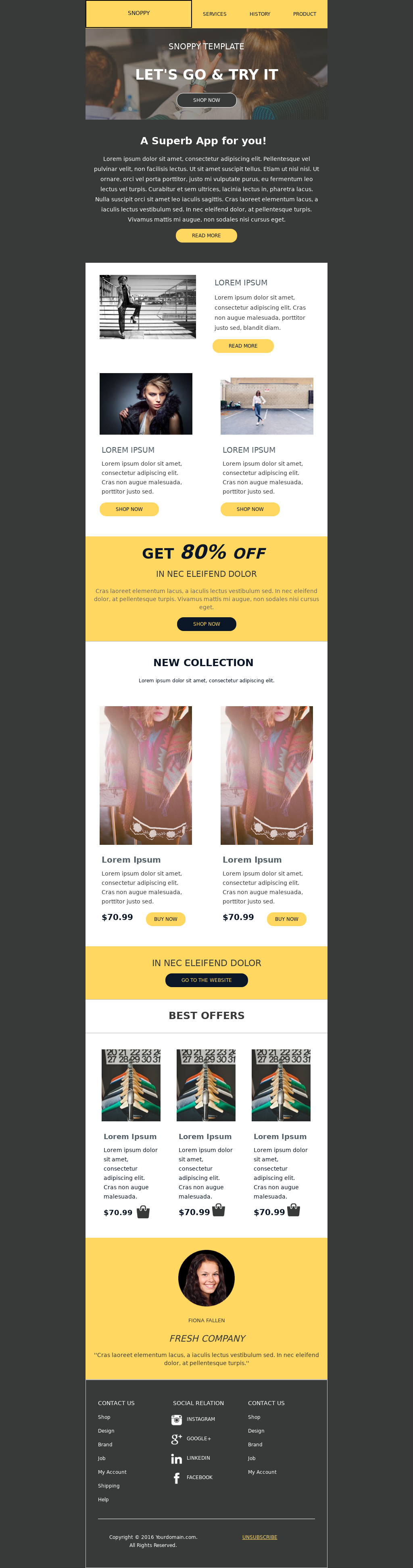 E-commerce fashion product promotional email template