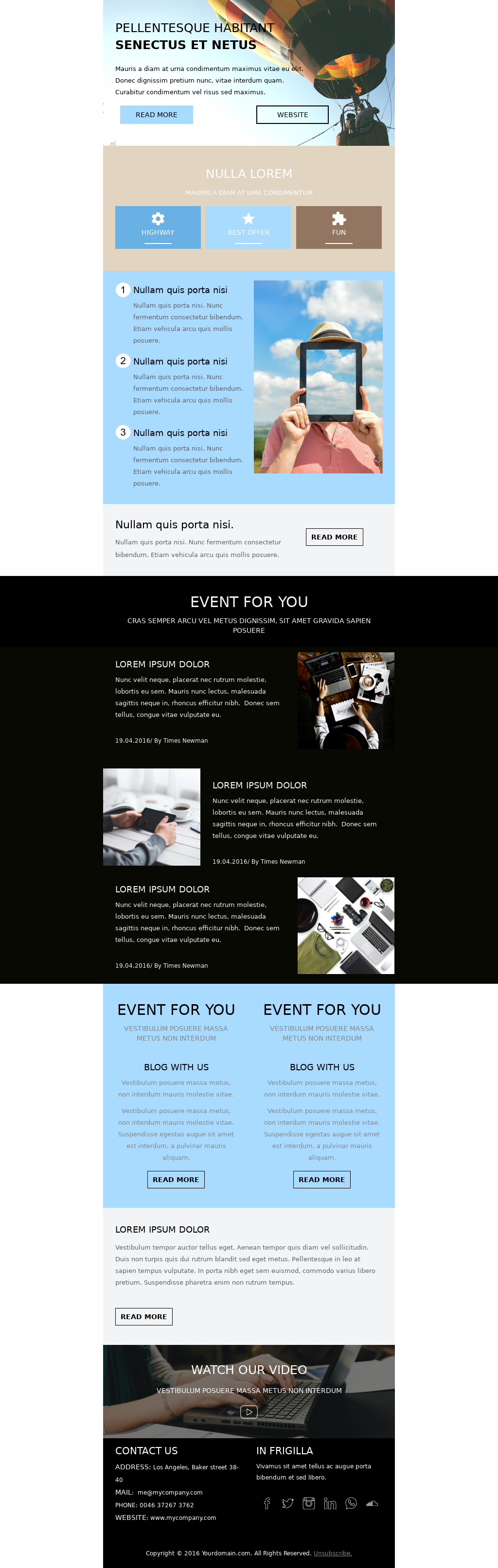 Travel and entertainment focused newsletter template where you can promote your events, offers, and latest blog content