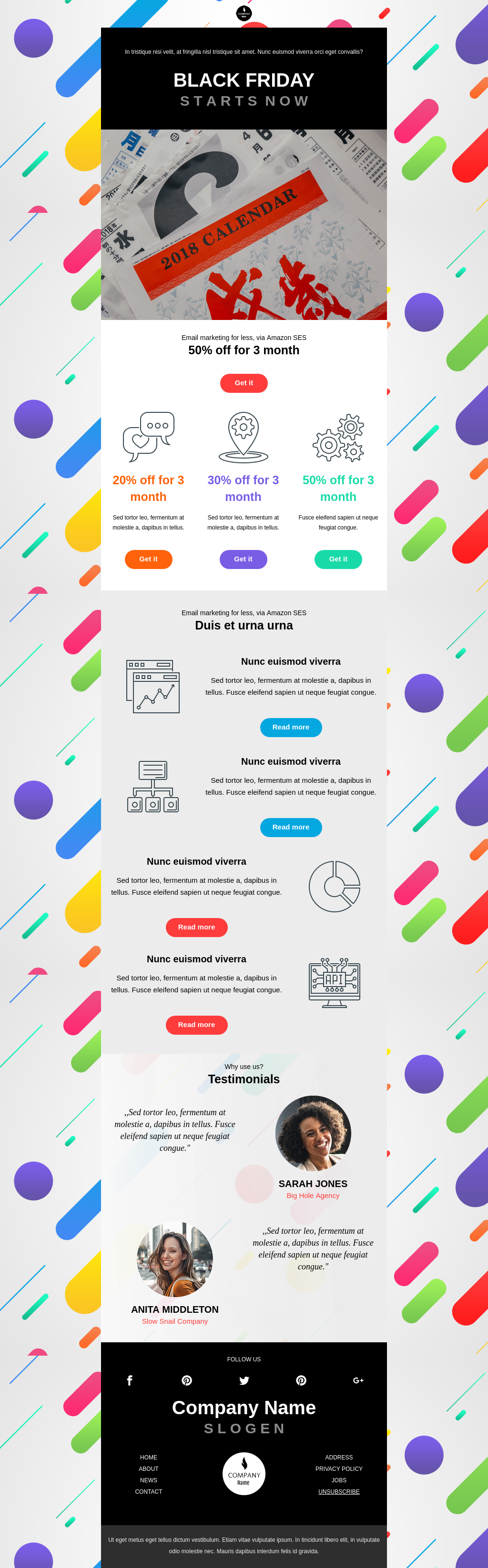 Colorful Black Friday email template promoting your services