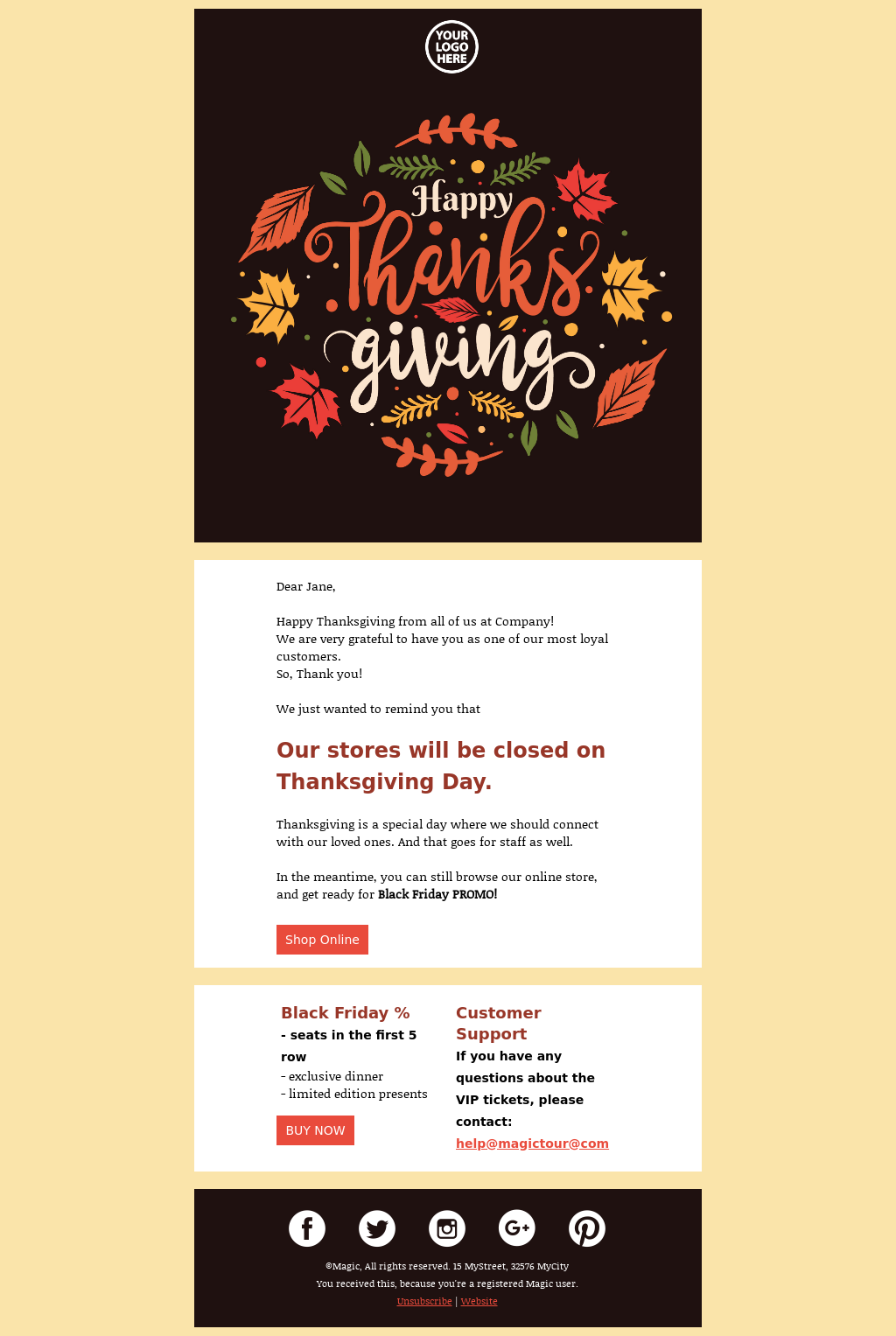 Office (Stores) Closed for Thanksgiving Email Template