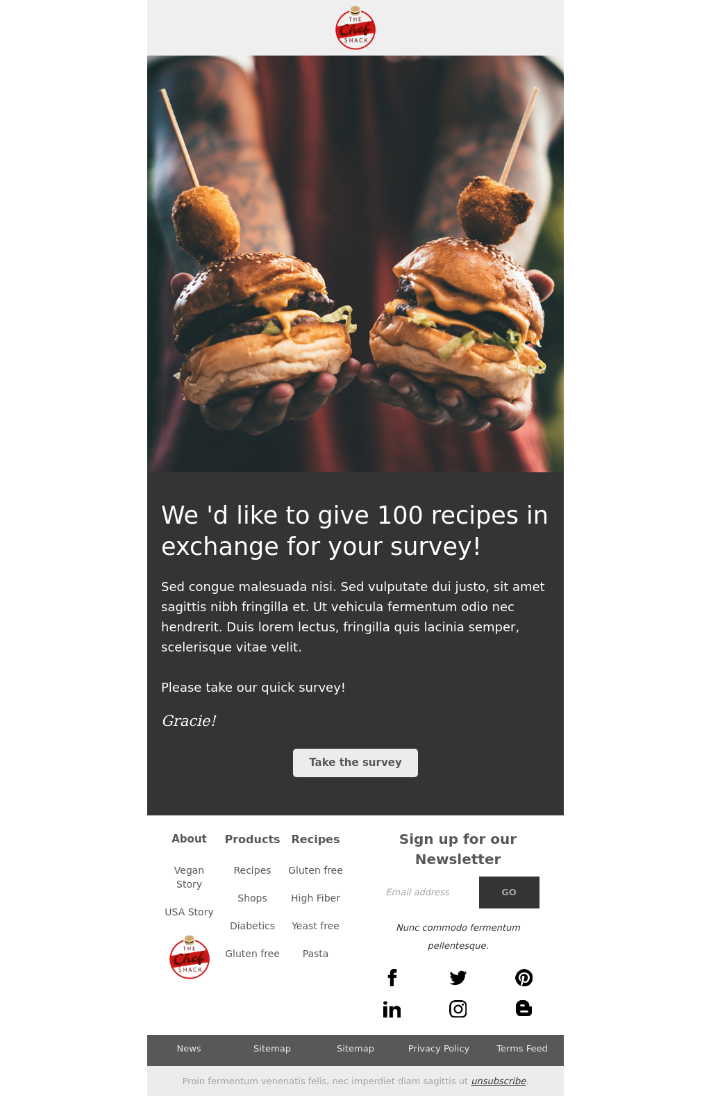 Clean Looking Street Food Themed Survey Invitation Email Template