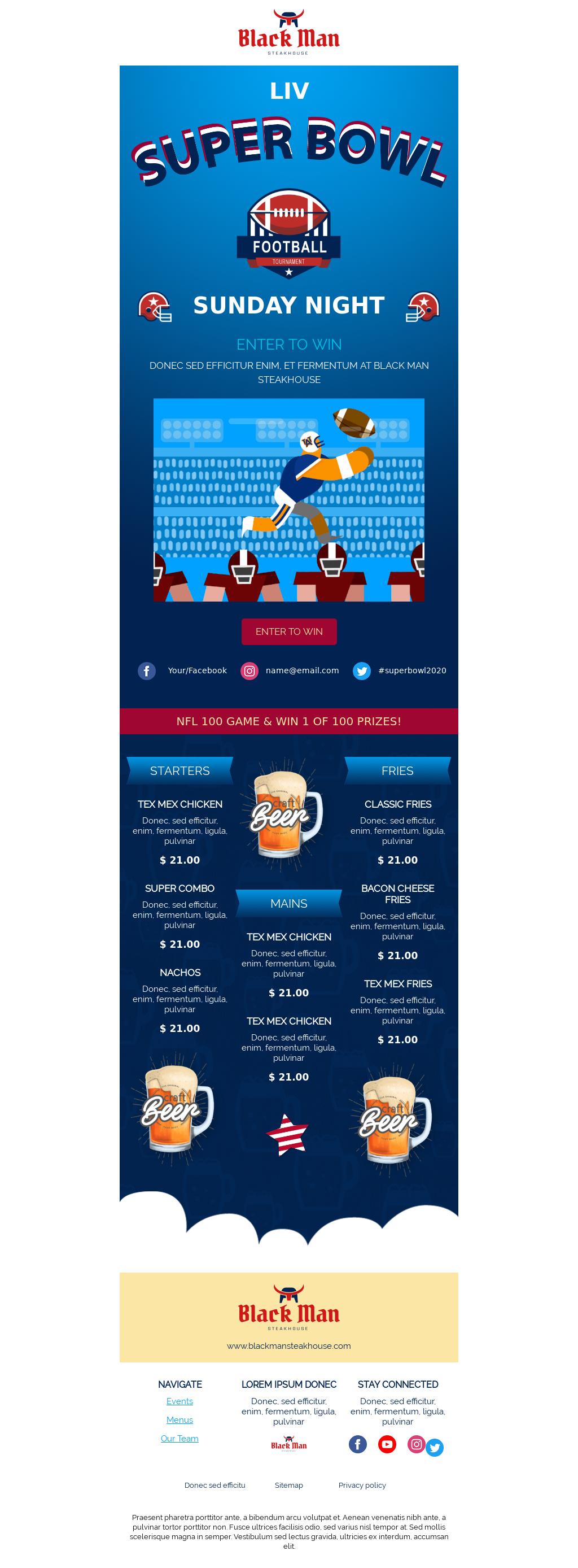 Super Bowl BLUE Event Invitation Email Template