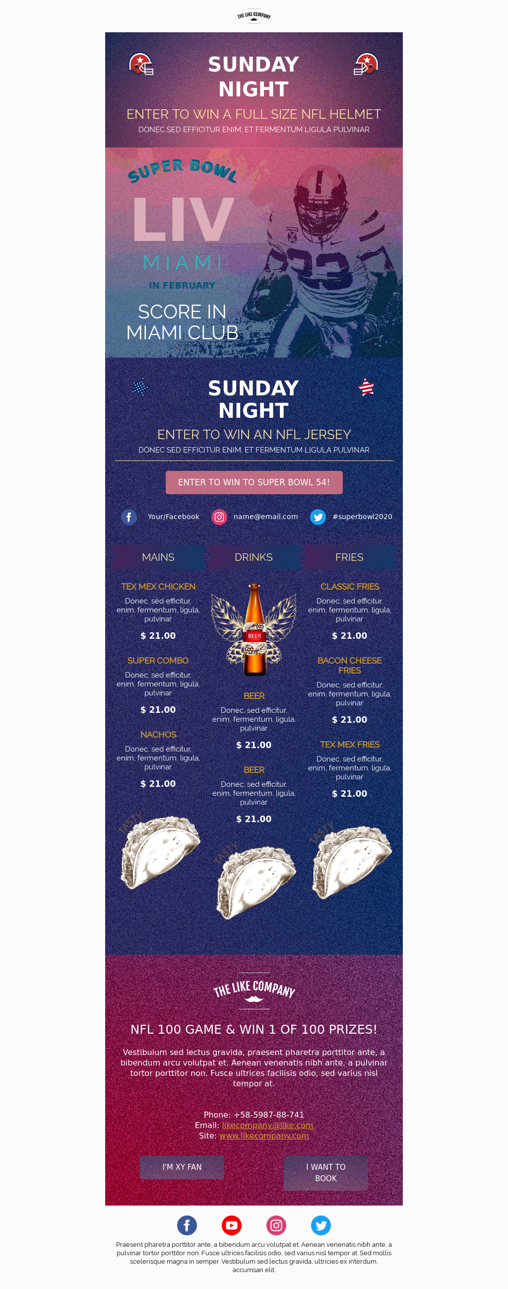 Super Bowl LIV Party Invitation Email Template