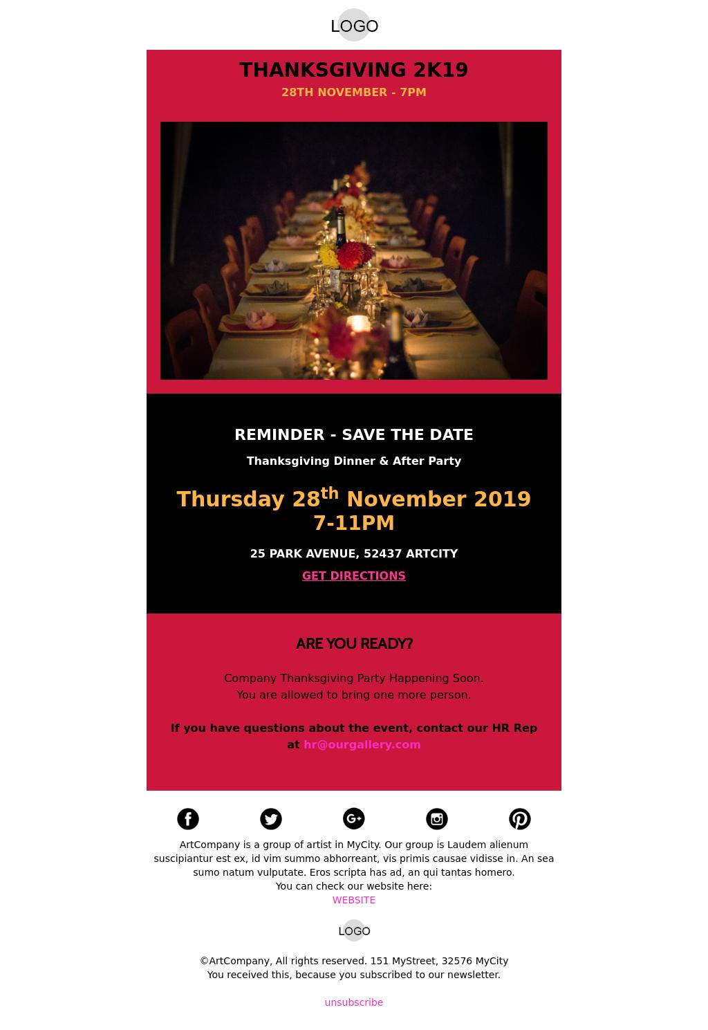 Thanksgiving Dinner Invitation Email