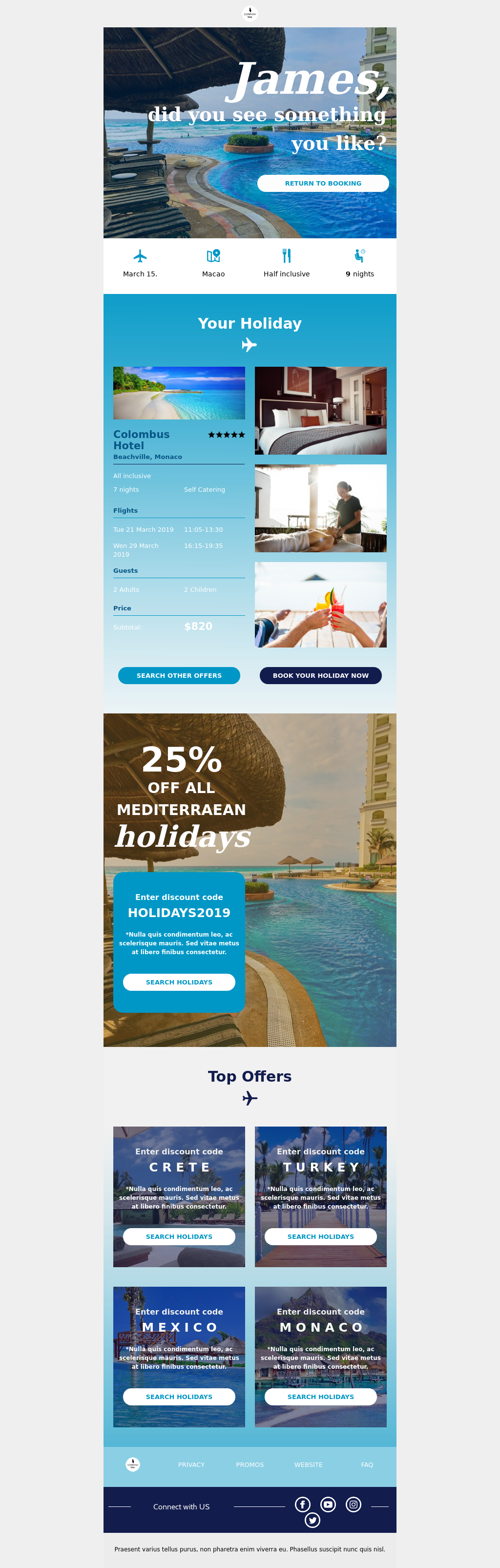 Responsive abandoned cart template for travel industries