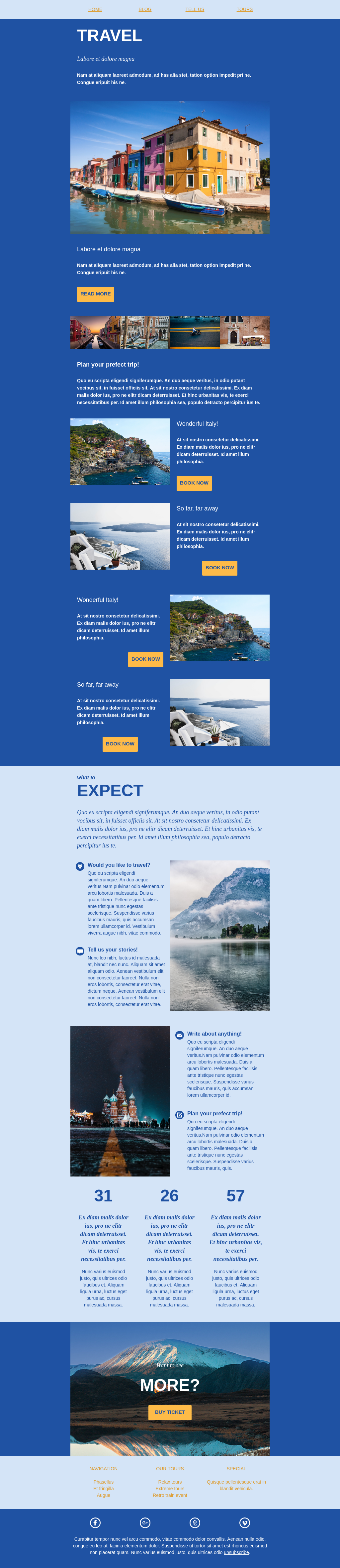 A blue and orange themed travel newsletter email template