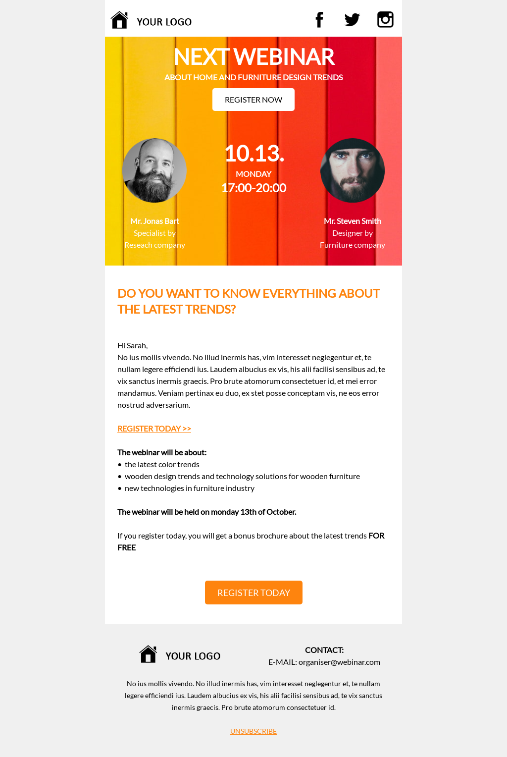 Responsive webinar template for any industry